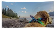 Beach Towel featuring the photograph Jackson Lake By Photo Dog Jackson by Matthew Irvin