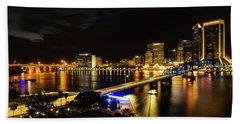 Jacksonville Skyline By Night Beach Towel