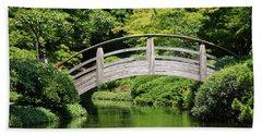 Japanese Garden Arch Bridge In Springtime Beach Towel