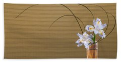 Japonica Iris In Bamboo Vase Beach Towel