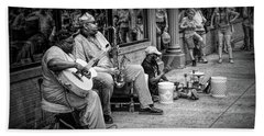Jazz Musician Street Buskers In Infrared Black And White Beach Towel