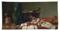 Jean Baptiste Simeon Chardin -paris, 1699-1779-. Still Life With Pestle And Mortar, Pitcher And C... Beach Towel
