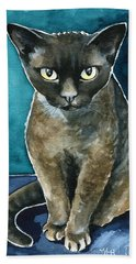 Joey - Devon Rex Cat Painting Beach Sheet