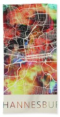 Johannesburg South Africa Watercolor City Street Map Beach Towel