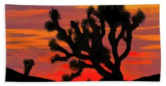 Joshua Tree At Sunset Beach Towel