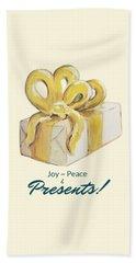 Joy, Peace And Presents Beach Sheet