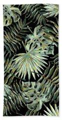 Jungle Dark Tropical Leaves Beach Sheet