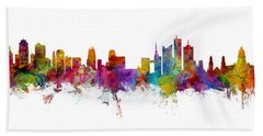 Kansas City And Brussels Skyline Mashup Beach Towel