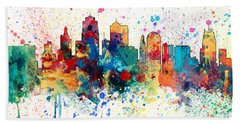 Kansas City Missouri Skyline Panoramic Spash Beach Towel