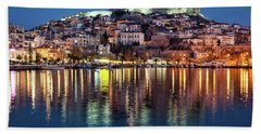 Beach Towel featuring the photograph Kavala Town At Night by Milan Ljubisavljevic