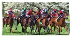Keeneland Down The Stretch Beach Towel