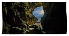 Beach Towel featuring the photograph Keyhole Cave In Malibu by John Rodrigues