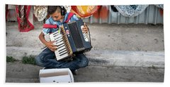 Kid Playing Accordeon Beach Sheet