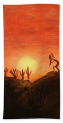 Kokopelli's Sunset Song Beach Towel