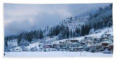 Beach Towel featuring the photograph Koprivshtica Winter Panorama by Milan Ljubisavljevic