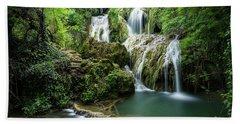 Beach Towel featuring the photograph Krushunski Waterfalls by Milan Ljubisavljevic