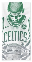 Kyrie Irving Boston Celtics Water Color Pixel Art 30 Beach Towel