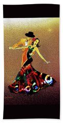 Beach Towel featuring the painting La Fiesta by Valerie Anne Kelly
