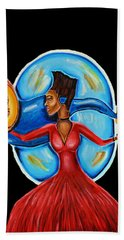 African Goddess Lady In Red Afrocentric Art Mother Earth Black Woman Art Beach Towel