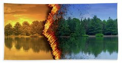 Lake Forest Fire Beach Towel