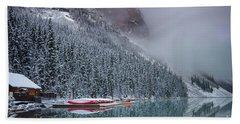 Lake Louise Boats In Winter Beach Towel