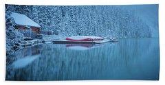 Lake Louise Misty Winter Morning Beach Towel