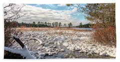 Beach Towel featuring the photograph Lake Oswego After The Snow  by Kristia Adams
