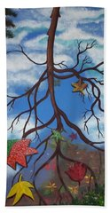Lake Reflections - Autumn Beach Towel