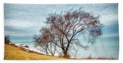 Lakeshore Lonely Tree Beach Towel