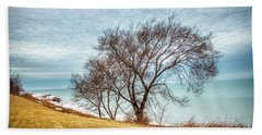 Lakeshore Lonely Tree Beach Towel