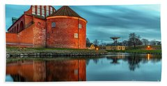 Landskrona Citadel With Reflection Beach Towel