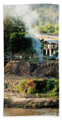 Laos Riverside Scene  Beach Towel