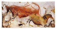 Lascaux Cow And Horse Beach Towel