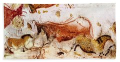 Lascaux Cow And Horses Beach Towel