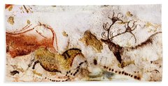 Lascaux Cows Horses And Deer Beach Towel
