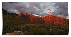 Last Light On Catalina Mountains Beach Towel