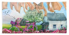 Laundry Day Watercolors Painting  Beach Towel