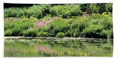 Lavender And Gold Reflections At Chicago Botanical Gardens Beach Towel