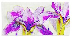 Lavender Irises Beach Towel