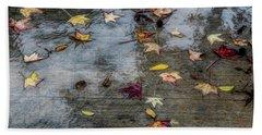 Leaves In The Rain Beach Towel