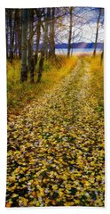 Leaves On Trail Beach Towel