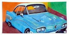 Light Blue 1950s Car  Beach Towel