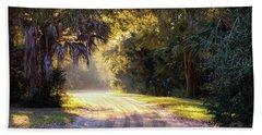 Light, Shadows And An Old Dirt Road Beach Towel