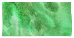 Light Through Green Marble Abstract Watercolor Beach Towel