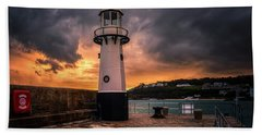 Lighthouse Dramatic Sky Beach Towel
