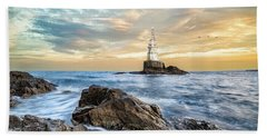Beach Towel featuring the photograph Lighthouse In Ahtopol, Bulgaria by Milan Ljubisavljevic