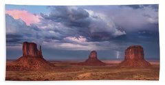 Lightning Across The Valley    Beach Towel