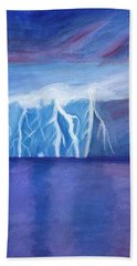 Lightning On The Sea At Night Beach Towel