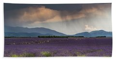 Lightning Over Lavender Field Beach Sheet