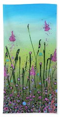Lilacs And Bluebells Beach Towel